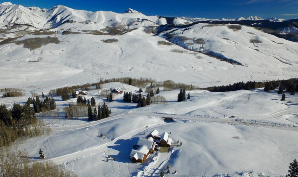 winter aerial Gunsight pass homes